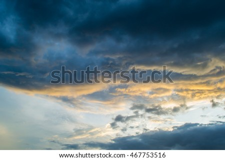 Light Sunset and gray cloud