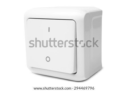 Light switch on white background - stock photo