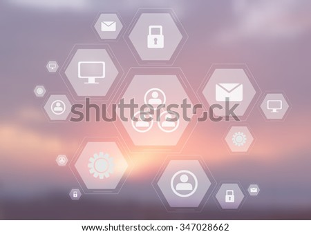 Light tech communication icons on blurred sky. Hexagons bright design