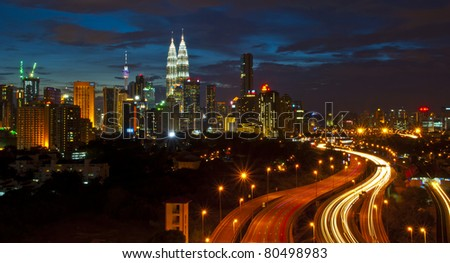 light trail in Kuala Lumpr city - stock photo