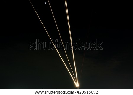 light trail of airplane