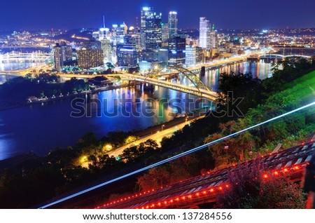 Light trails from the Pittsburgh, Pennsylvania incline.