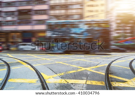light trails in the downtown district,hong kong china. - stock photo