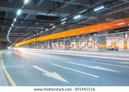 light trails on the city underground road