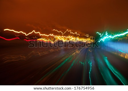 Light trails on the railway - stock photo
