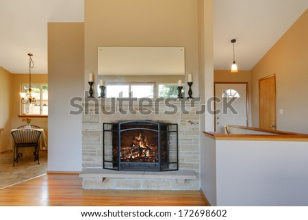 Warm australian living room fireplace contemporary stock photo 371781052 shutterstock - Contemporary fireplace insert for a warm living room ...