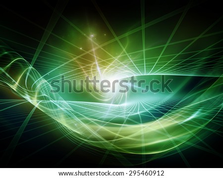 Light Waves series. Composition of  light curves and sine waves for projects on design, science and modern technologies - stock photo