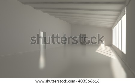light white room and window 3d illustration
