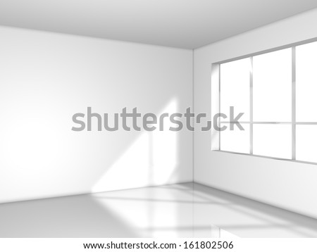 light white room with window, 3d render - stock photo