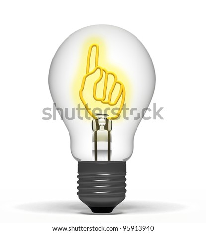 Light, with a raised finger inside, symbolizing the idea - stock photo