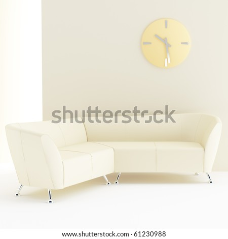 light yellow interior with sofa and clock on wall - stock photo