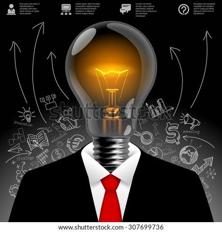 Lightbulb business man.  Business idea symbol. Modern design template and business concept - stock photo