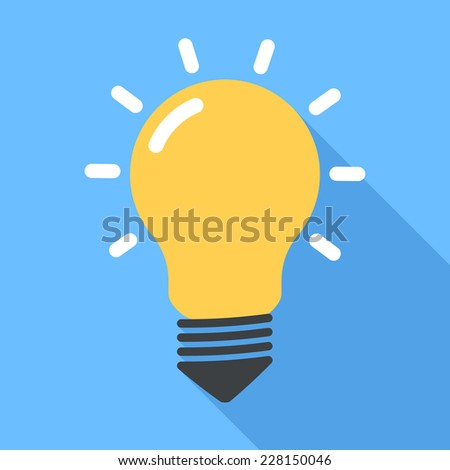 Lightbulb. Flat Design icon - stock photo