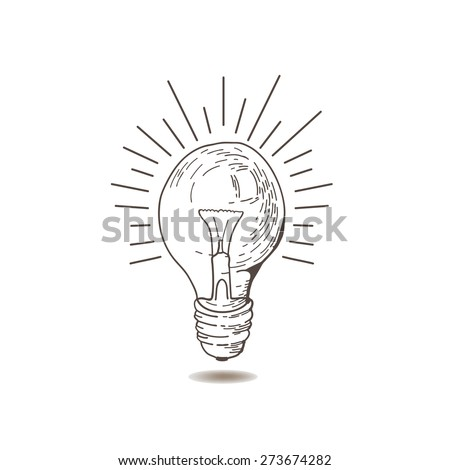 LightBulb icon. Doodle hand drawn sign. Vintage light bulb. Idea.  light bulb hand drawn. Light bulb on white background