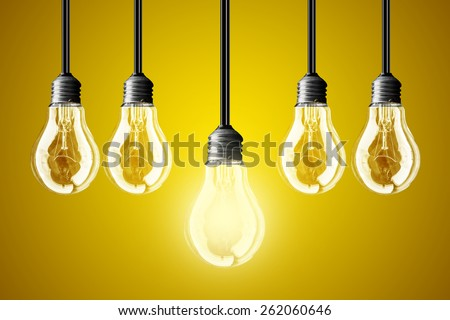 lightbulb Idea concept. yellow background