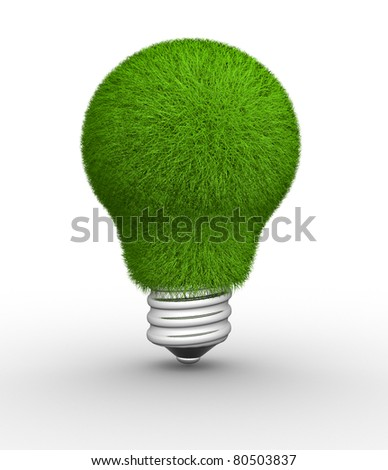Lightbulb made of green grass. This is a 3d render illustration