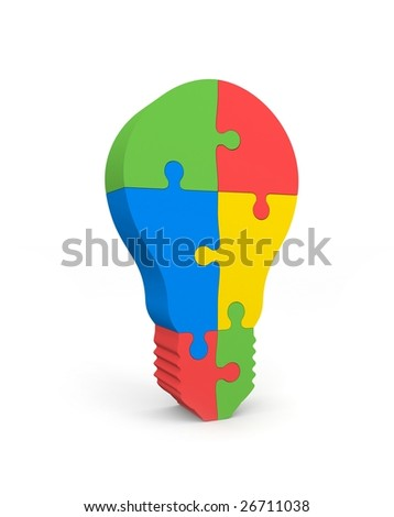 Lightbulb of the puzzle - stock photo