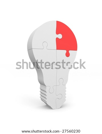 Lightbulb of the puzzle. The main part - stock photo