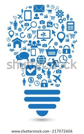 lightbulb social media concept symbol - stock photo
