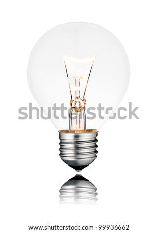 Lightbulb Switched ON - Golf Ball Shape with Screw bottom and Reflection. Isolated on White - stock photo