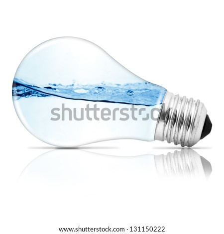 Lightbulb with water inside. Abstract concept - stock photo