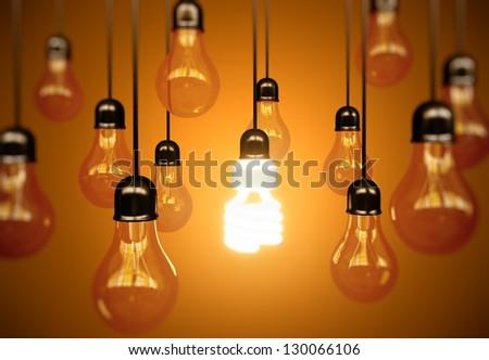lightbulbs on yellow background, idea concept - stock photo