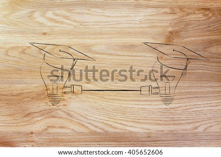 lightbulbs with graduation cap connected with double plug, concept of sharing ideas and knowledge - stock photo