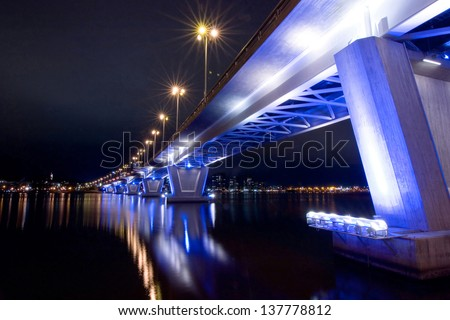 lighted Betonbruecke - stock photo