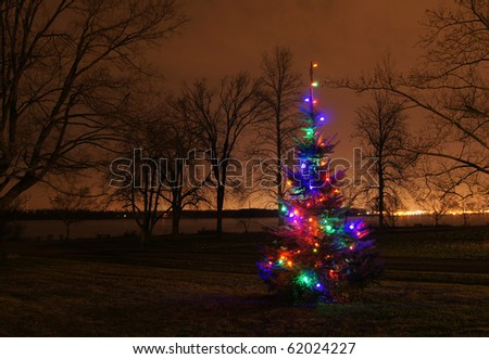 Lighted Christmas tree along a riverbank - stock photo