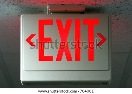 lighted exit sign - stock photo