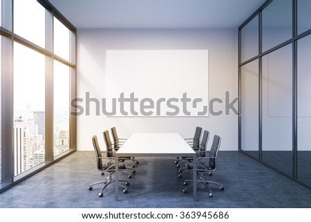 Lighted meeting room in office building, French window to the left with New York view, big white table and six brown leather armchairs around. White board on the back wall. 3D rendering. - stock photo