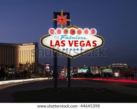 Lighted sign reading Welcome to Fabulous Las Vegas Nevada at dusk. Horizontally framed shot. - stock photo