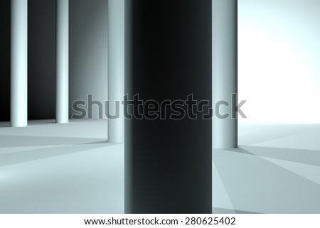 lighted white background with two pillars on the side