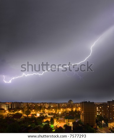 lightening  over the city