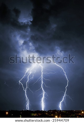 Lightening over the landscape in the summer night. - stock photo