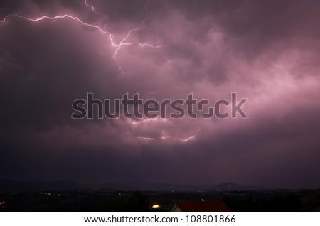 lightening strikes - stock photo