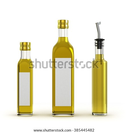 lighter glass bottles for olive oil of different sizes isolated on white background