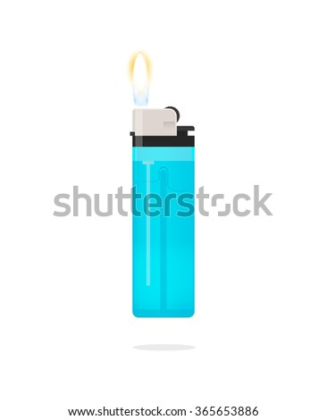 Lighter icon illustration, lighter with fire flame, hand lighter flaming, blue pocket burning lighter, flat realistic modern design isolated on white background image - stock photo