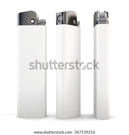 Lighter in different angles isolated on a white background. 3d render image. - stock photo