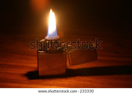 Lighter on a table