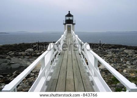 Lighthouse, Acadia National Park, ME, USA - stock photo
