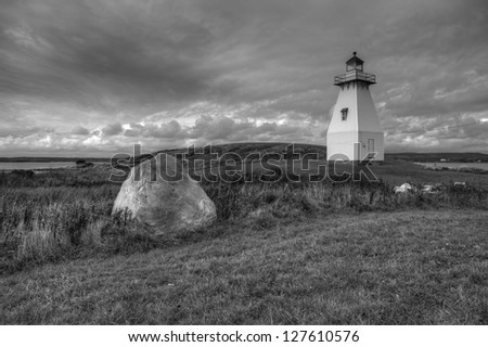 Lighthouse along the Atlantic Coast of Canada - stock photo