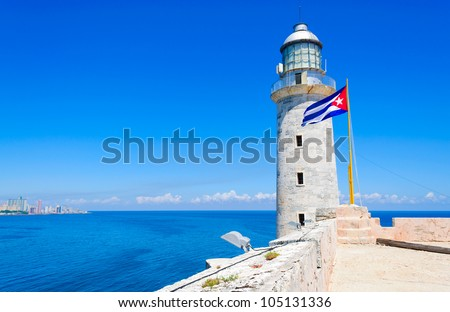 Lighthouse and cuban flag on el Morro castle in Havana with space for text - stock photo