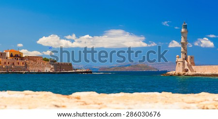 Lighthouse and main town quay panoramic view. Chania, Crete. Greece. - stock photo