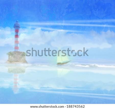 Lighthouse and sailboat illustration - stock photo