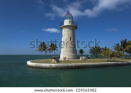 lighthouse at Biscayne nation park - stock photo