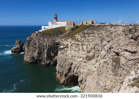 Lighthouse at Cabo de Sao Vicente, Sagres, Algarve, Portugal