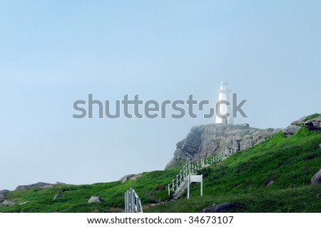 Lighthouse at Cape Spear, Newfoundland in the morning mist - North America's easternmost point