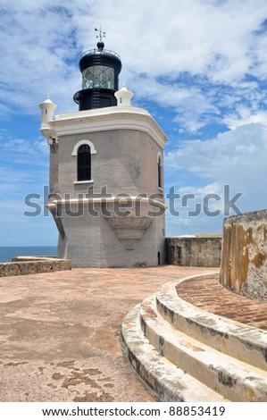 Lighthouse at Fort San Felipe del Morro, Puerto Rico - stock photo