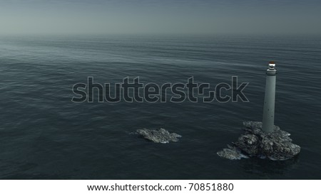 Lighthouse at night on a rocky island viewed from above, 3d digitally rendered illustration